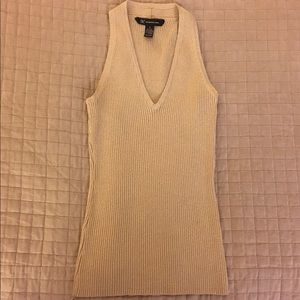 INC Sparkly Gold Vneck Tank Size Small