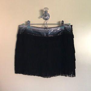 Bebe Sequin Fringe Short Skirt