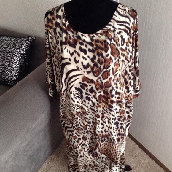 Tiana B Dresses & Skirts - Animal Print Cold-Shoulder Top & Skirt Set