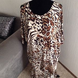 Animal Print Cold-Shoulder Top & Skirt Set