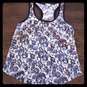 Joie Silk Black Lace Print Racerback - L