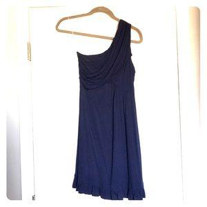One shoulder navy blue dress