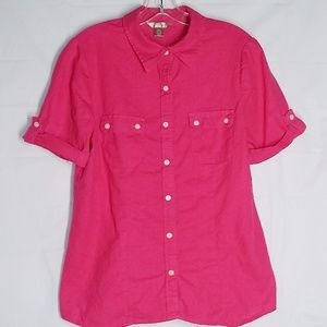 White Stag L 12 14 Top Shirt Blouse Linen Pink