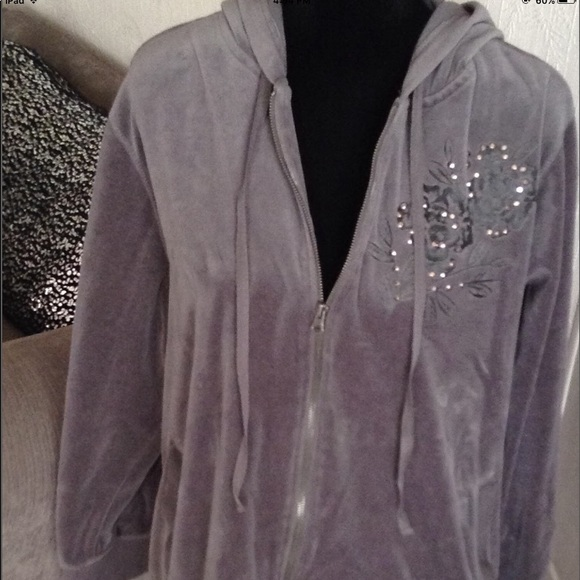 Basic Editions Jackets & Blazers - Grey Velour Bling Hoodie & Pant Set