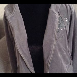 Basic Editions Jackets & Coats - Grey Velour Bling Hoodie & Pant Set
