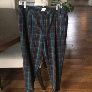 Anthropologie Cuffed plaid ankle pants Sz. 10