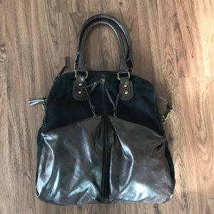 Black & Brown Leather Travel Bag