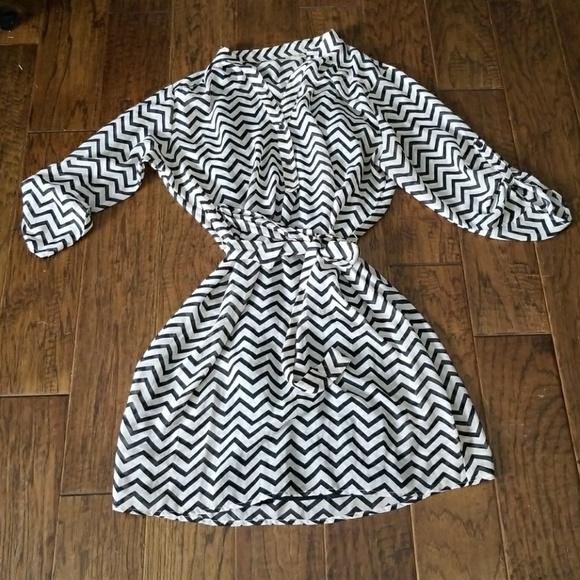 Tacera Dresses Sheer Chevron Dress With Tank Dress Underneath