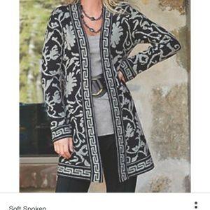 Soft surroundings Medium  cardigan black/gray long