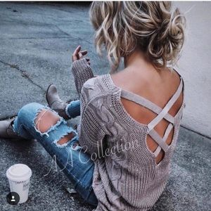 Sweaters - criss criss back loose cable knit sweater MAUVE