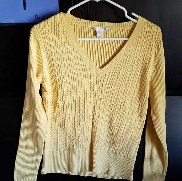 Casual Corner - Sz L Gold color V-Neck Sweater from Amy's closet ...