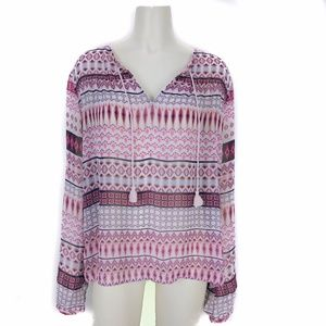 Decree Pink Long Sleeve Boho Blouse Extra Large XL