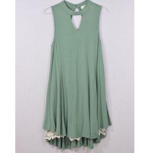 Umgee Green Mock Neck Dress