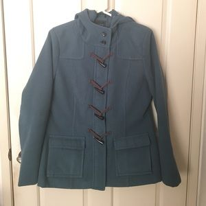 Tamnoon Teal green toggle hooded coat jacket