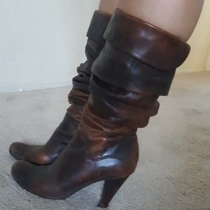 BCBG brown slouchy mid-calf boots
