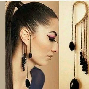 Punk style black ear cuff - non pierced