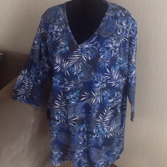 Woman Within Tops - Blue Leafy Design Top