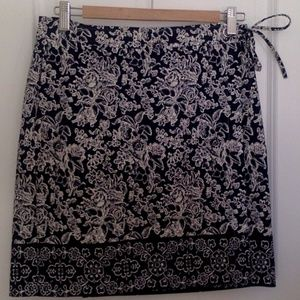 Navy Floral Wrap Skirt