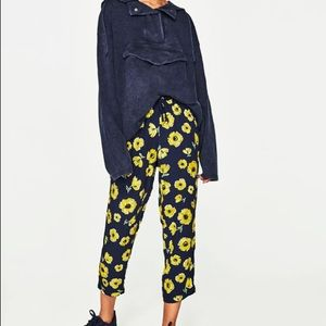 NWT Zara yellow floral trousers with stretch waist