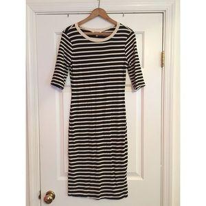 Bodycon Midi Cream and Black Striped Dress
