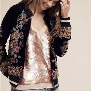 NWT anthropologie rose gold sequin cami