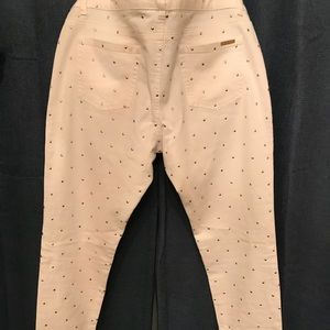Michael Kors gold studded cream color jeans