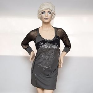 Salvage Gray Mesh Long Sleeve Dress $250 Large