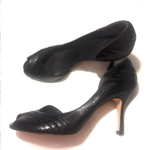 Adrianna Papell Black Leather Flynn d'Orsay Heels