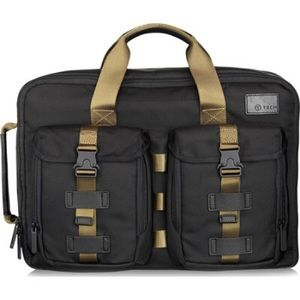 Tumi laptop bag in black and green.