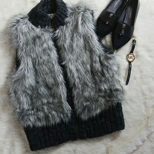BOGO SALE! {LOFT} Gray Faux Fur Vest