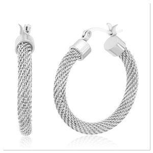 Stainless Steel Mesh Hoop Earrings