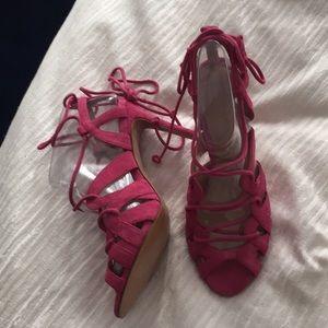 Hot Pink Lace Up Banana Republic Heels