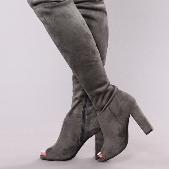 505a76e65f6e Fashion Nova Shoes - Fashion Nova Carmella OTK boots - Charcoal
