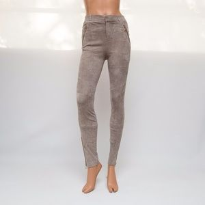J Brand 2x30 Dove Gray French Lamb Suede Pants
