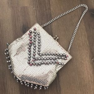 Vintage silver beaded studded evening bag