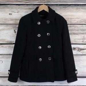 Calvin Klein Wool Blend Peacoat Size 2 Black