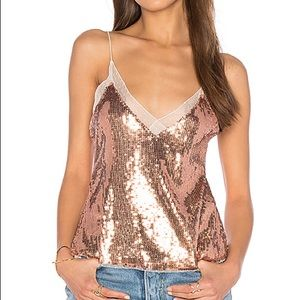 Free People Sassy Sequins Cami in Rose Gold