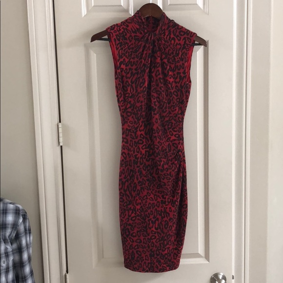 Dresses & Skirts - Red leopard knit dress