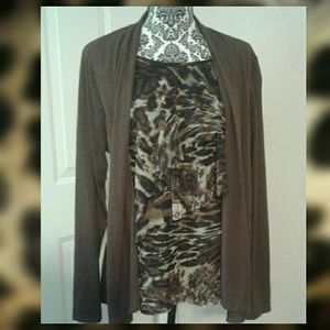 One Piece Brown Long Sleeve Top Combo