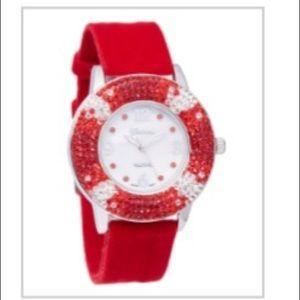 Red Velvet Rhinestone Watch
