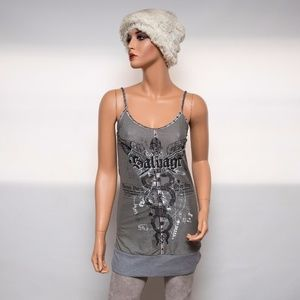 Salvage Gray Multi-color Mini Dress Tunic $250 Sm