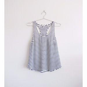 Joie White Blue Striped Silk Drew D Tank sz Small