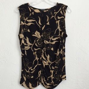 Karen Kane fitted and gathered rayon dressy v neck