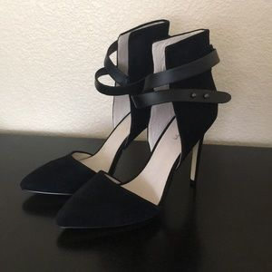 Joe's Black suede pump with pointed toe