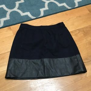 J.crew Navy, black wool and leather skirt size 4