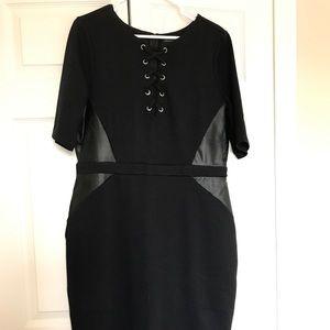Black leather side panel midi dress