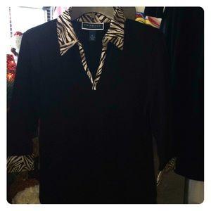 Black & Animal Print Karen Scott Sweater