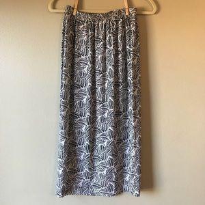Vintage Black and White Leaf Print Silk Midi Skirt