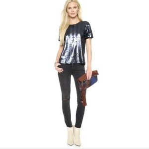 J.O.A. Blue-sequin Top - New Years Eve Top. (2).
