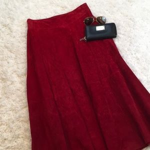 Retro Suede Leather Maxi Skirt